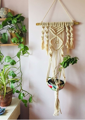 Homelymess Classic In White Macrame Planter