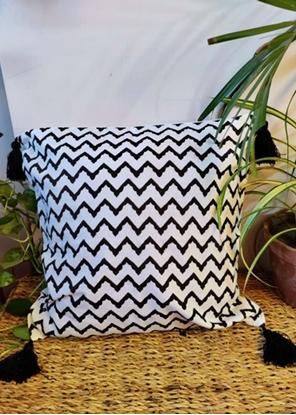 HomelyMess Black Aztec Block Print Cushion Cover