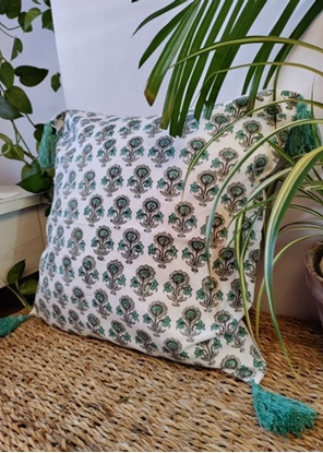HomelyMess Wildflower Cuteness Block Print Cushion Cover
