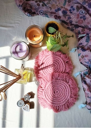 HomelyMess Pink Burst Macrame Coasters