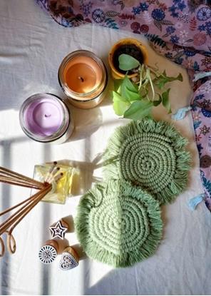 HomelyMess Green Moon Macrame Coasters
