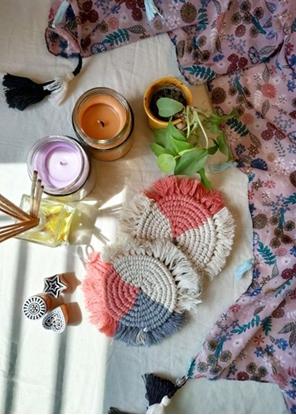 HomelyMess Colour Squash Macrame Coasters