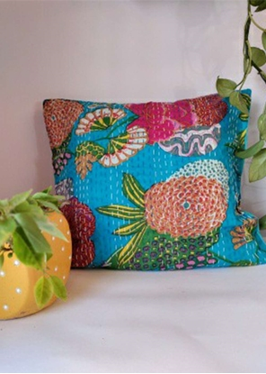 HomelyMess Blue Eyed Kantha Stitch Cushion Cover