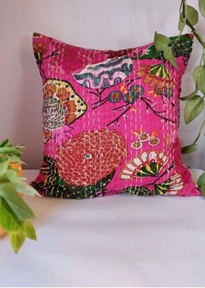 HomelyMess Pinkish Affair Kantha Stitch Cushion Cover