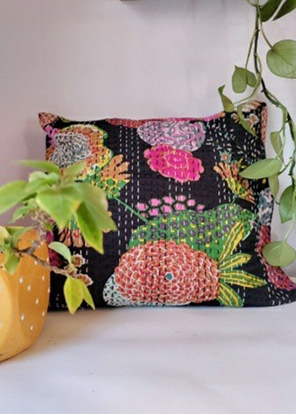 HomelyMess Black Forest Kantha Stitch Cushion Cover